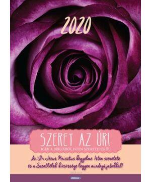 Falinaptár - 2020 (Kerugma) nagy fali (lila rózsa)