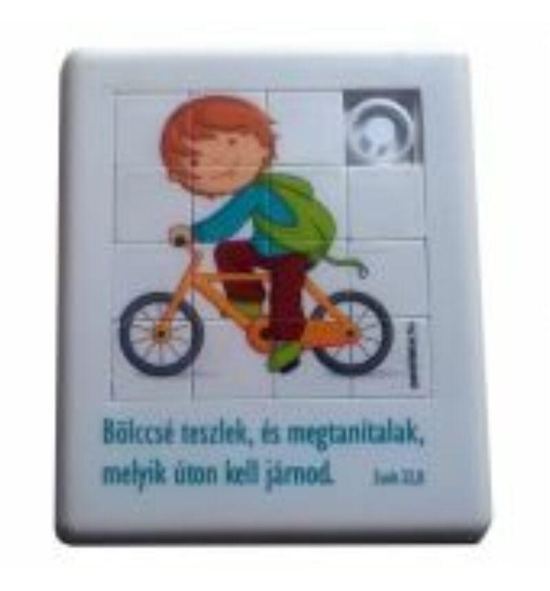 Mini puzzle - Tologatós kirakó játék - (bicikli)